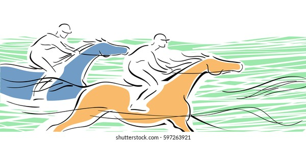 Horse race with two horse and jockeys on white. Hand drawing vector illustration banner. Equestrian background.