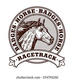 Horse racetrack badges. Graver badges vector illustration. Engraving horse racetrack illustration. Logotype  vector horse head.