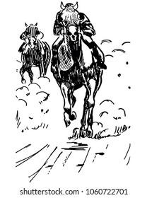 Horse Racing 2 - Retro Clip Art Illustration
