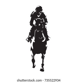 Horse racing, abstract vector silhouette