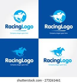Horse Racing, blue and dark blue vector logo variations.