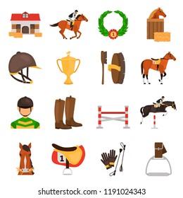 Horse Racing color vector icons set. Flat design