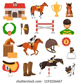 Horse Racing color vector icons set. Flat design