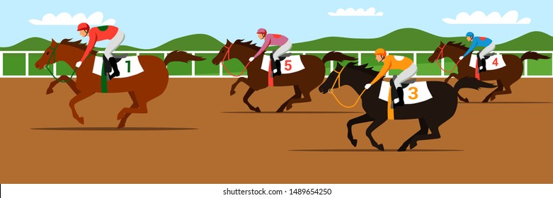 Horse racing competition flat vector illustration. Competitors cartoon characters. Professional jockeys, riders on thoroughbred racehorses backs. Equestrian sport, derby
