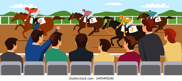 Horse racing competition flat vector illustration. Competitors and cheering fans cartoon characters. Professional jockeys, riders on thoroughbred racehorses backs. Equestrian sport, derby