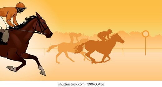 Horse Racing. Competition. Jockeys on horses galloping on the racetrack. Silhouettes of riders on a colored background. color image