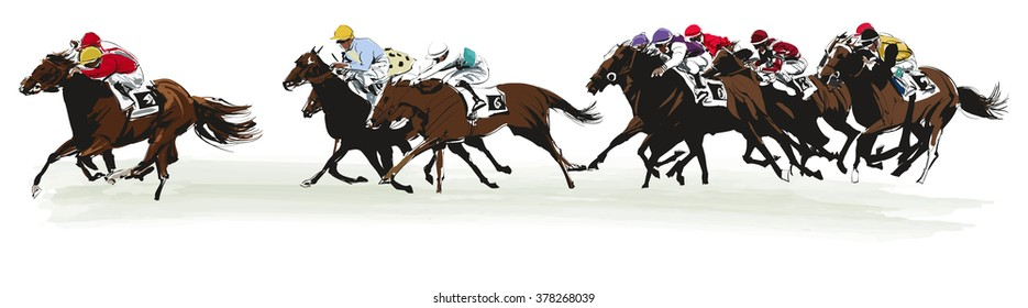 Horse racing competition- vector illustration