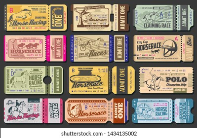 Horse racing cup ticket and polo championship admit card vector templates of equestrian sport retro design. Racing horses, jockeys and winner trophy cups, hippodrome, horseshoes and harness cart
