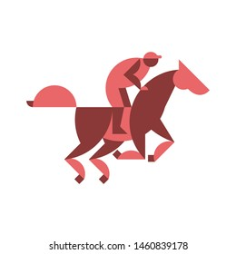 Horse racing equestrian sport jockey racehorse minimal modern geometric  logo