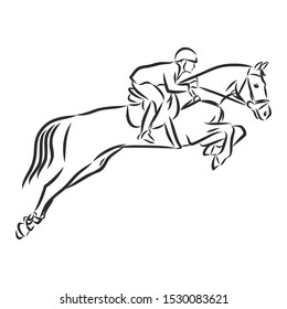 horse racing, horsemanship, jumping horse, contour vector illustration