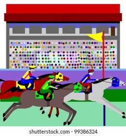 Horse racing.  Illustration of cartoon horses, racing at a track and the stadium is crowded. The winner is happy and the looser is upset.
