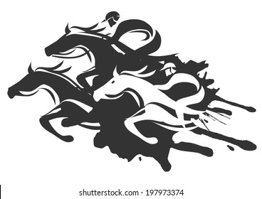 Horse racing. Illustration of Horse Racing at Full Speed.  Black Vector illustration on white background