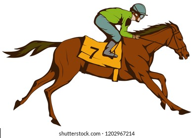 Horse racing. Jockey on racing horse running to the finish line. Race course
