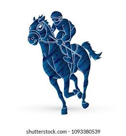 Horse Racing Jockey Riding Design Using Grunge Brush Graphic Vector