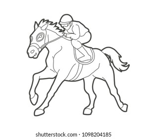 Horse Racing Jockey Riding Design Using Outline Graphic Vector
