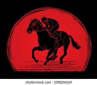 Horse Racing Jockey Riding Design On Sunlight Background Graphic Vector