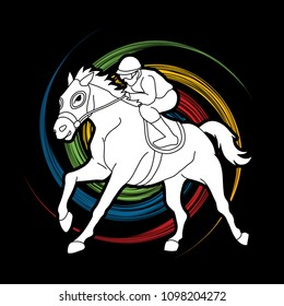 Horse Racing Jockey Riding Design On Spin Wheel Background Graphic Vector