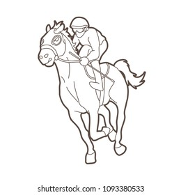 Horse Racing Jockey Riding Outline Graphic Vector
