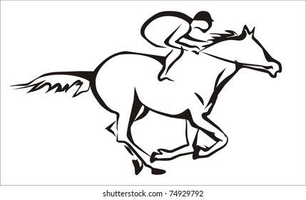 Horse Racing Jockey Silhouette Images Stock Photos Vectors