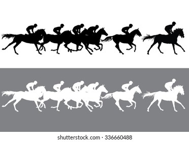 Horse Racing. Jockeys on horses galloping on the racetrack. Black and white silhouettes of riders on a light and dark background.