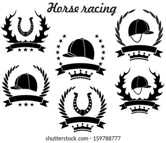 Horse racing logo. Isolated horse racing on white background
