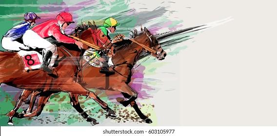 Horse racing over grunge background - Vector illustration