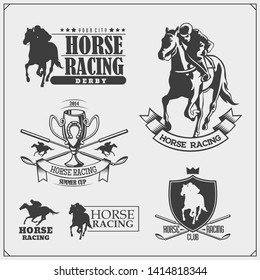 Horse racing and polo club emblems, labels, badges and design elements. Print design for t-shirt.