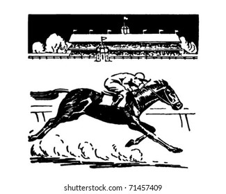 Horse Racing - Retro Ad Art Illustration
