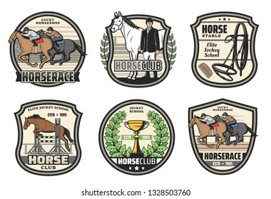 Horse racing school, jockey horserace badges. Vector equestrian icons of hippodrome horse racing, victory cup and equine equipment