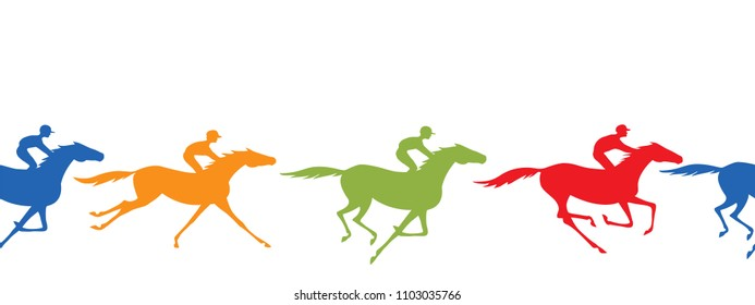 Horse racing silhouette seamless border. Horse and jockey. Galloping horseback riders with yellow, blue, green, red color. Horseracing winner, vector background.