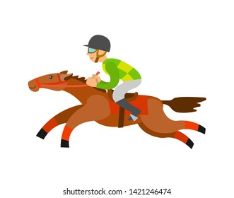Horse racing sports vector, rider wearing helmet sitting horseback isolated character in dangerous equestrian race. Horserace competition flat style