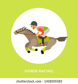 Horse racing sports vector, rider wearing helmet sitting horseback isolated character in frame with letering. Equestrian race, horserace competition flat style