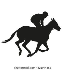 Horse racing. Vector silhouette
