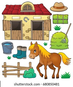 Horse and related objects theme set - eps10 vector illustration.