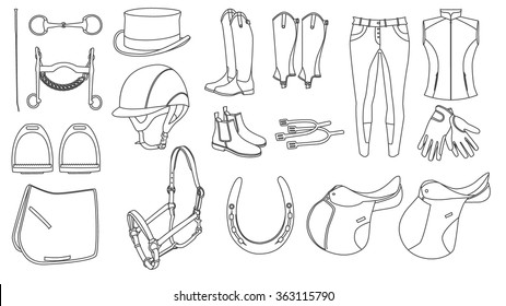 horse ride equipment icon set. Thin icon, web design, page element. Horse sport clothing.
