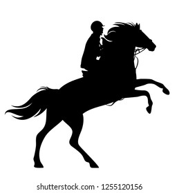 horse and rider black vector silhouette - rearing up animal and horseman outline
