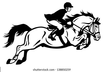 horse rider  black and white side view illustration