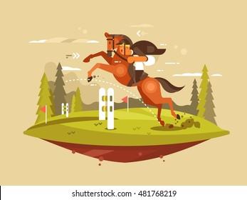 Horse and rider jumping hurdles