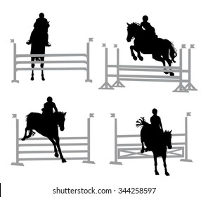 Horse and Rider jumping hurdles - Show Jumping Equestrian Silhouettes Isolated Set