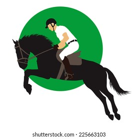 Horse and rider jumping on green background. Vector EPS10