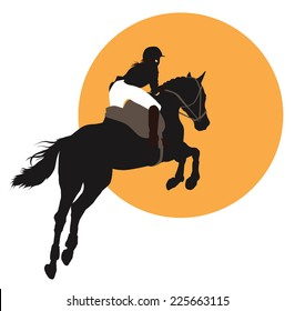 Horse and rider jumping on orange background. Vector EPS10