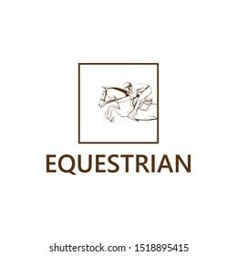 horse rider logo. equestrian geometric logo. modern horse logo. jump horse logo