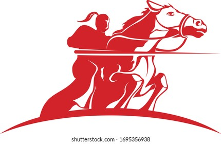 Horse Rider Logo Template Red