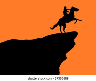 A horse and rider on a cliff at sunset (illustration).