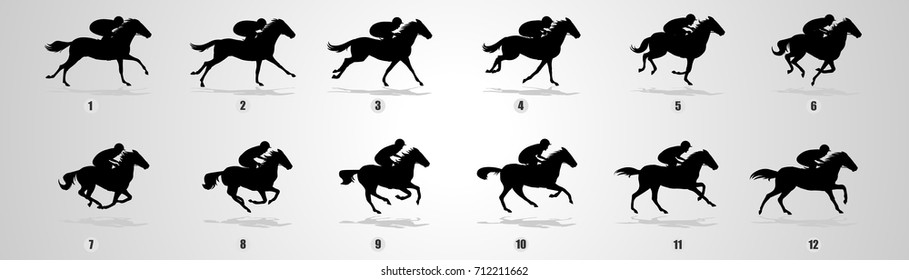 Horse rider run cycle for animation