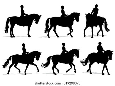 Horse and Rider silhouette set on transparent background - Woman with helmet riding Dressage movements on elegant horse