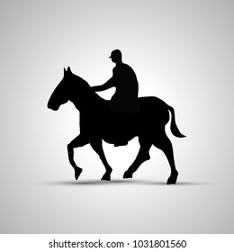 Horse rider silhouette, side view simple black icon with shadow