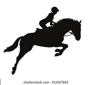 Horse rider vector silhouette. EPS 10