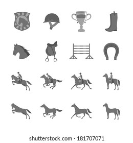 Horse with riders flat icons set of cup barrier saddle and horseshoe isolated vector illustration