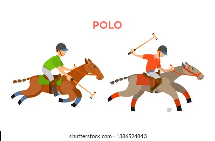 Horse riders playing polo vector, sportive game for players, riding males wearing uniform using sticks to hit small ball laying on ground isolated